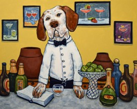 """""""Party Pointers"""" by Clancy - 16 x 20 inches - acrylic on board"""