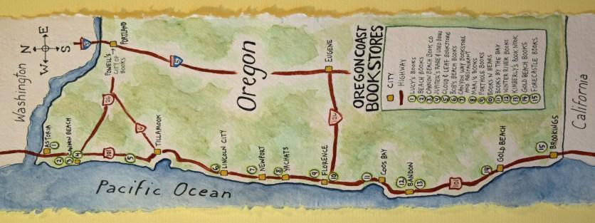 Oregon Coast Bookstores map - https://www.theydrawandtravel.com/artists/sue-clancy