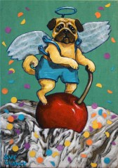 """""""Pug A Cherry On Top"""" By Sue Clancy 7 x 5 x 1.5 inches Hand dyed paper, hand marbled paper, ink and acrylic on cradled board"""