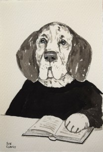 """Rodin"" by Clancy - ink on handmade paper - https://store.bookbaby.com/book/Dogs-By-Sue-Clancy"
