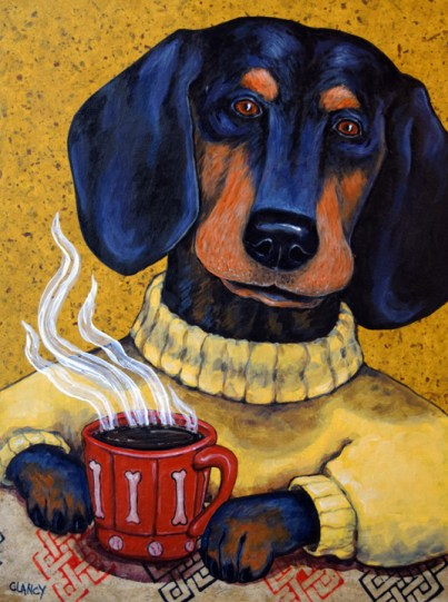Paws for Coffee By Clancy 16 x12 x 2 inches Hand dyed paper, found paper and acrylic on cradled board