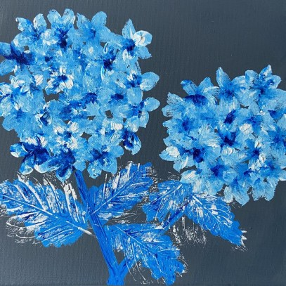 Blue Passion - mixed media - Sue Collins - 30 x 30 cm