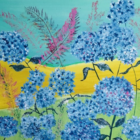 Springtime - Sue Collins mixed media 100 x 100 cm