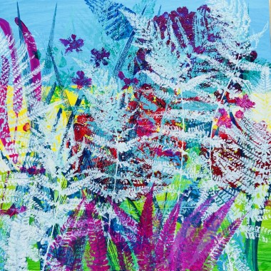 Fern Fantasy Sue Collins mixed media 50 x 50 cm