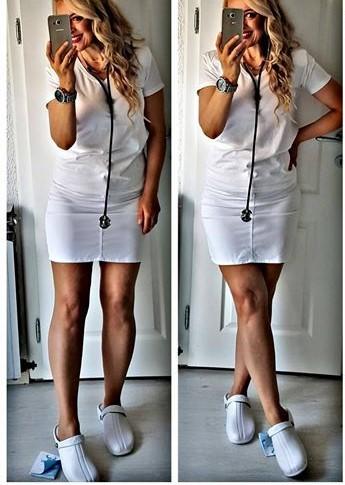 Oden Klompe bele papuce -BELE Suecos klompe MB UNIFORMS