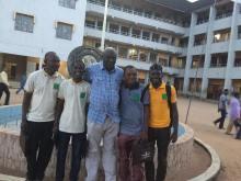 In front of some of the classes. With Richard Anya (ANA Ebonyi Vice Chairman), Nurain Usman Muhammad (ANA Gombe), Denja Abdullahi (ANA President), Okechukwu Onuegbu (ANA Anambra), Su'eddie Vershima Agema (National Teen Authorship Committee Member)