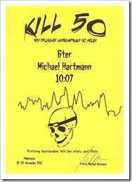 Kill50-Urkunde