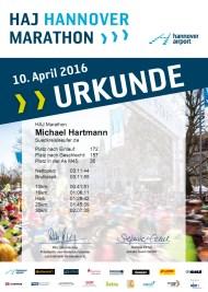 26. HAJ Hannover Marathon 2016 - Urkunde