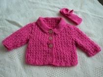 Knitting - Pink Jacket and head band