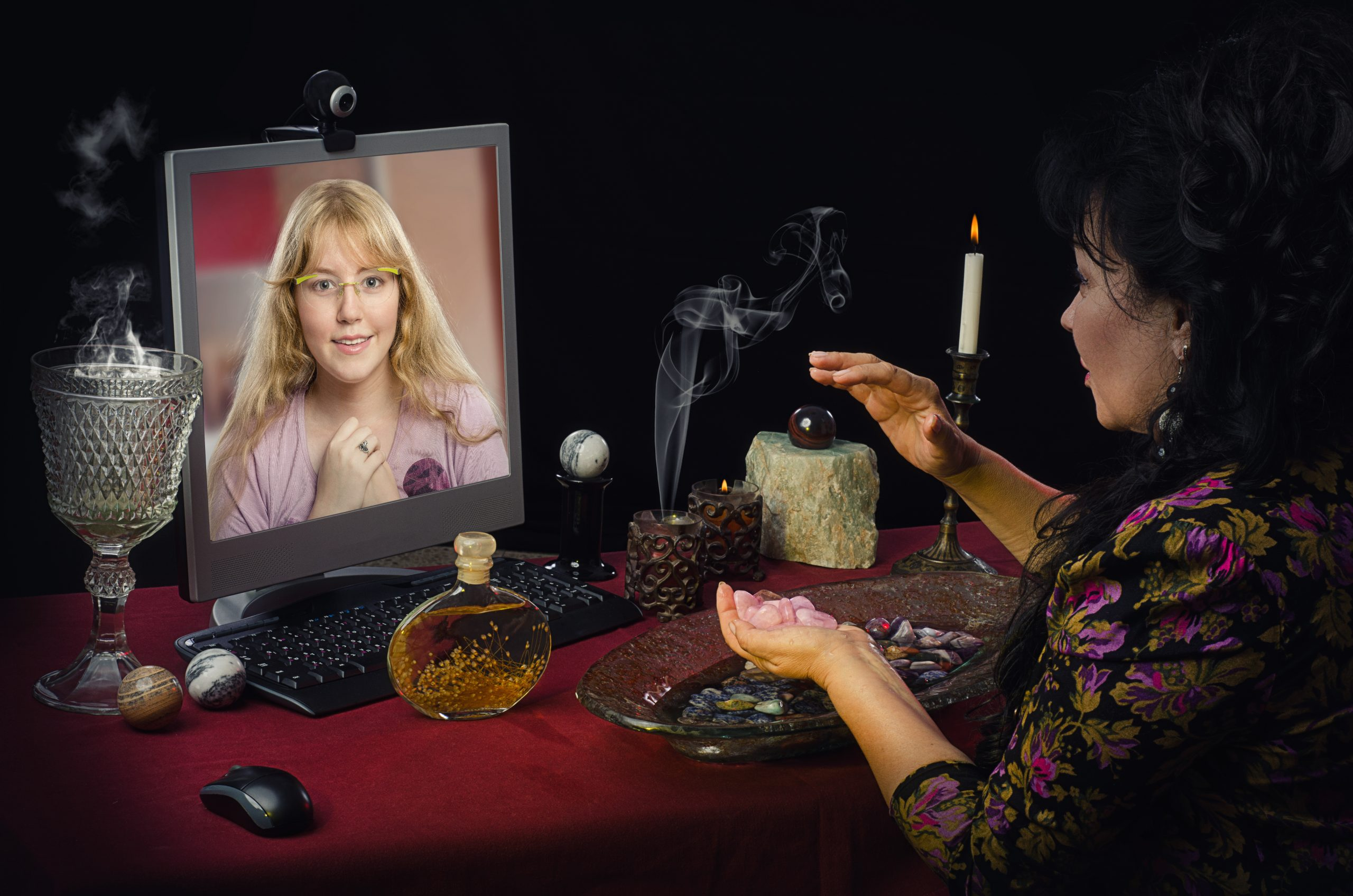 Psychic performing video reading