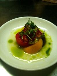 Heirloom tomato salad, yuzu, basil