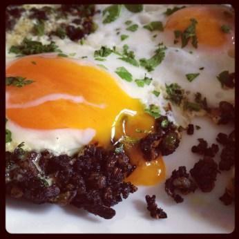 Eggs and Morcilla