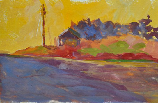 The Lighthouse, Marblehead Harbor, gouache on paper, 9 x 12 inches