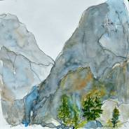 Kolana Peak, watercolor, 8 x 8