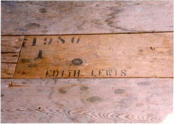 Floor Board with Edith Lewis' name