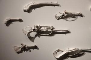 Angelfire, 2010, detail, animal bones, ceramic, cloth. Private collection