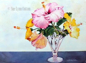 Hibiscus in Glass Vase $99