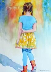 Little Girl in Orange Boots $99