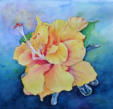 Yellow Hibiscus in Glass $99