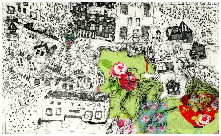 'English Garden' (31 x 19cm, etching with chine colle, 2013) edition of 100 at £245