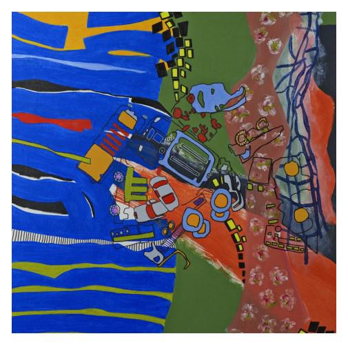 'Family' (90 x 90 cm, oil canvas, 2020) £1500