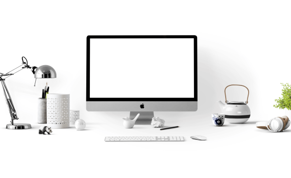 silver imac near white ceramic kettle