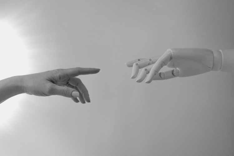 black and white photo of human hand and robot hand