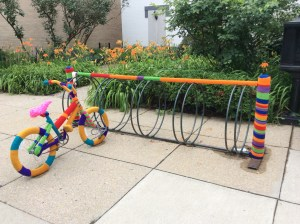 yarn bombed bike & stand