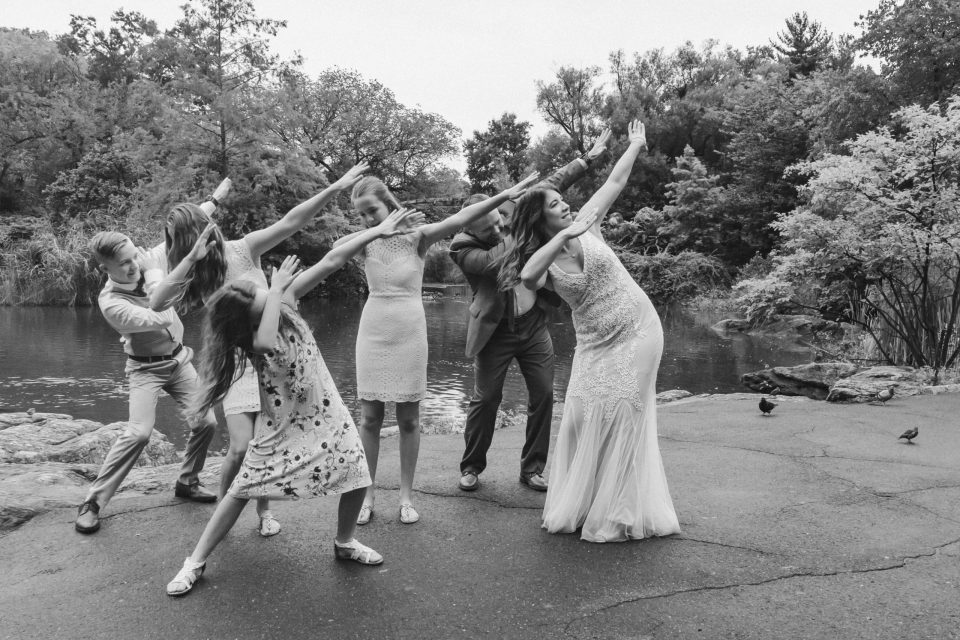dab-wedding-photo-fun-bride-and-groom-with-kids-central-park-elopement-suessmoments