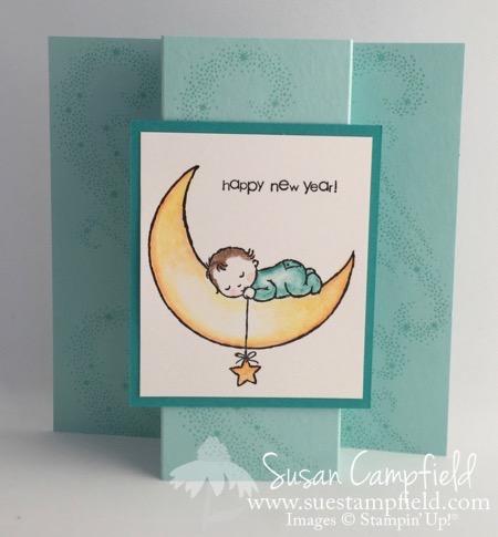 Moon Baby Boy Blue Happy New Year - 1