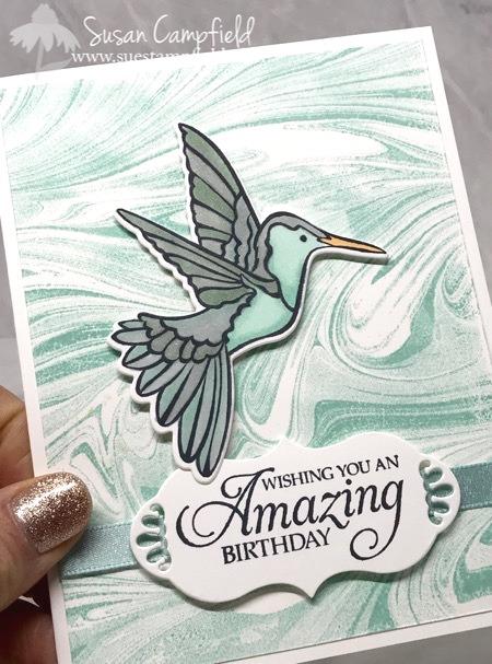 Stampin' Up! Humming Along Hummingbird Dies Marbled - 8