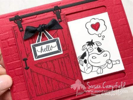 Cow in the Barn Sliding Door Card - 1