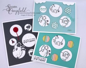 Stampin' Up! Counting Sheep with Picture This Dies for cute birthday and baby cards