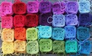 crocheted granny squares - I love these colors!