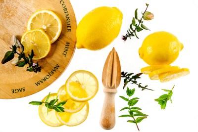 Fresh Lemons with herbs