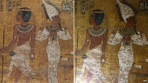 The picture on the right is the original tomb, the one on the left is the replica.