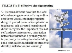 TELEDA Tip 5 effective site signposting
