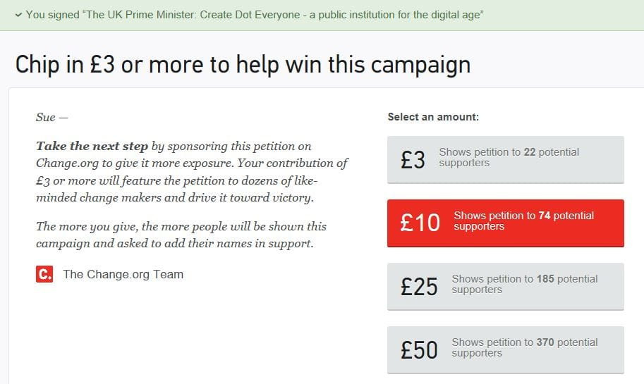 image showing dot everyone petition page