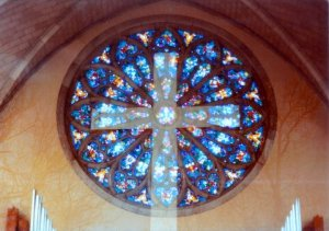 Double Exposure, Cross and rose window at Sewanee