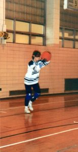Sue, playing goalball