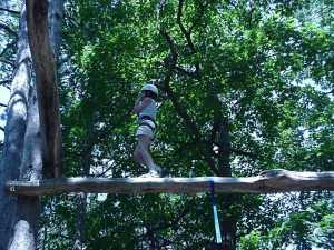 Sue on the high ropes course