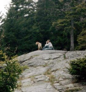 Sue and Sadie on a rock