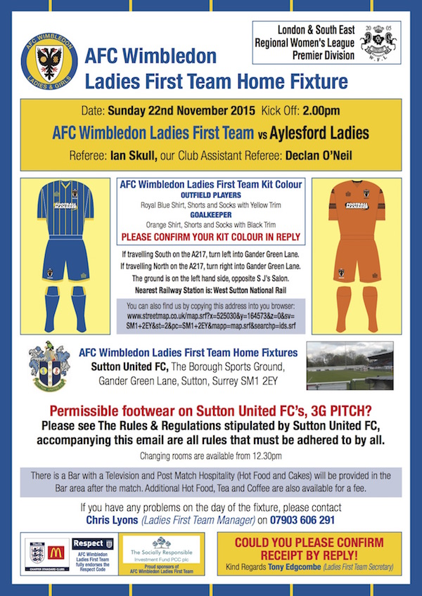AFCW Home Fixture Aylesford