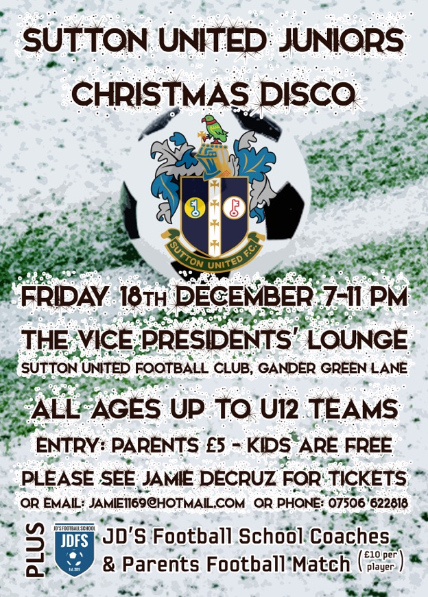 Sutton United Juniors Christmas Disco