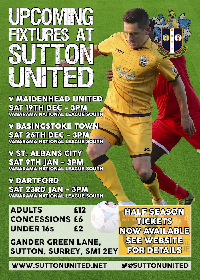 Sutton United December 2015 Fixtures