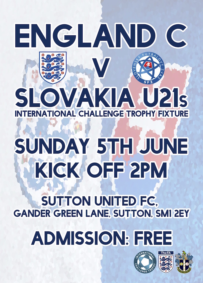 England vs Slovakia Flyer Sutton United 3G Pitch