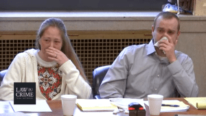 Groves trial: Jessica and Daniel Groves watch on emotionally as their 15-year-old son, Daniel Jr., testifies.