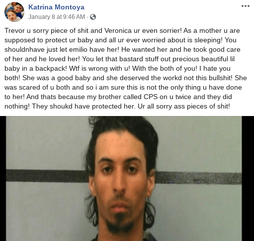 Katrina Montoya, aunt of Baby Marion Jester-Montoya, posted a hate-filled rant about Trevor Rowe on Facebook