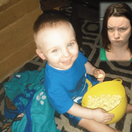 Murdered Virginia 2-year-old Noah Tomlin holding a bowl of popcorn with inset mug shot of mother Julia Tomlin