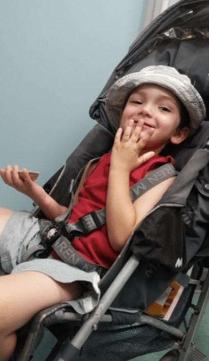 Thomas Valva in a stroller